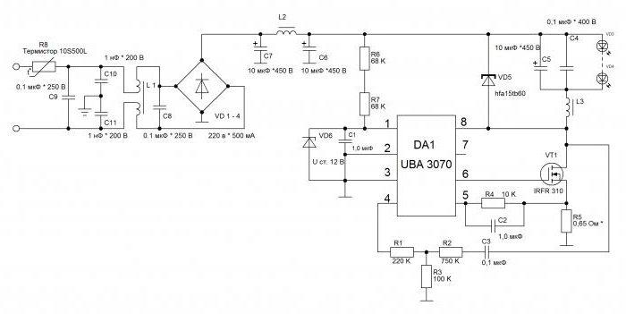 драйвер светодиода 220в схема