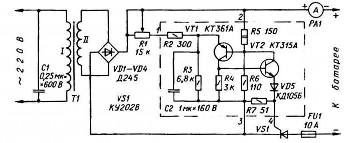 схемы зарядных устройств на тиристорах для автомобильных