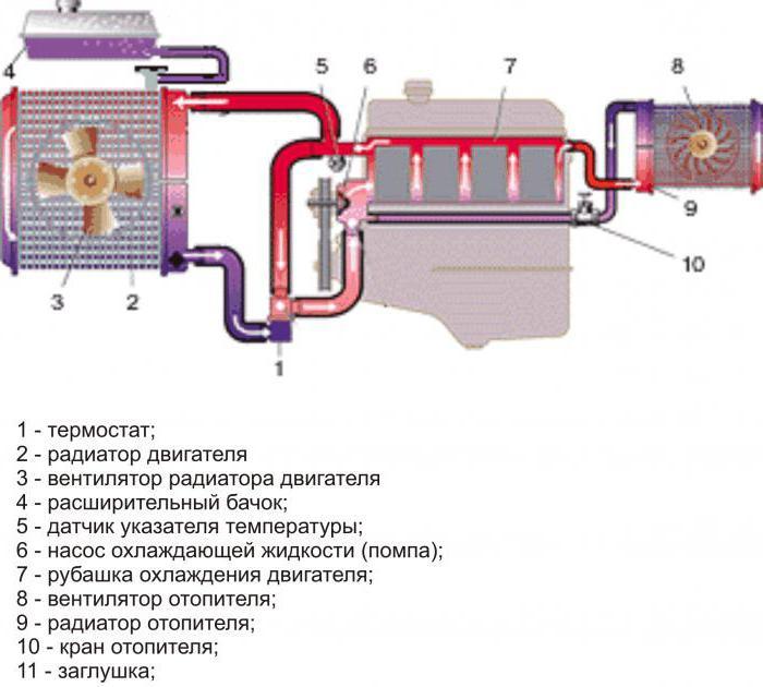 2122827 - Схема движения тосола в системе охлаждения