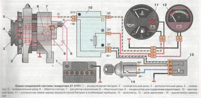 схема реле зарядки ВАЗ-2106