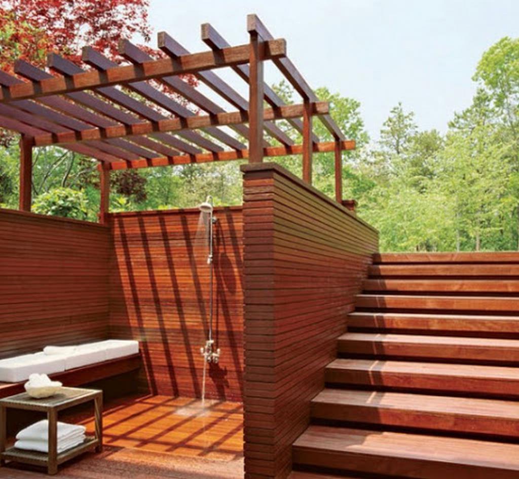 Comfortable wood shower