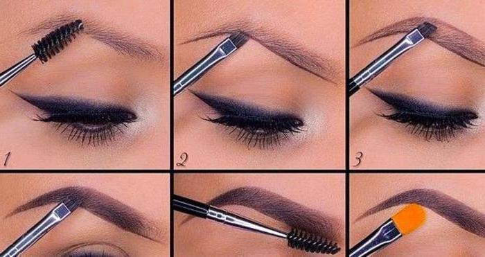 Как накрасить брови тенями поэтапно фото макияж