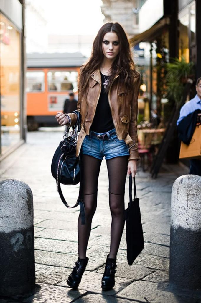 denim shorts with tights