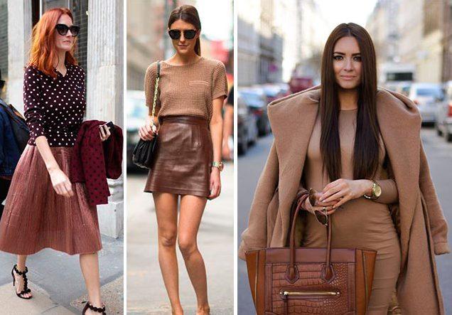 сочетание темно бежевого цвета в одежде