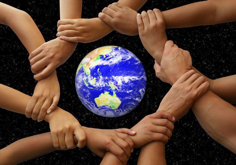 hands around the globe