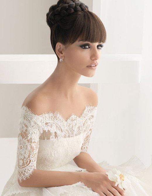 Прическа на свадьбу средние волосы с челкой