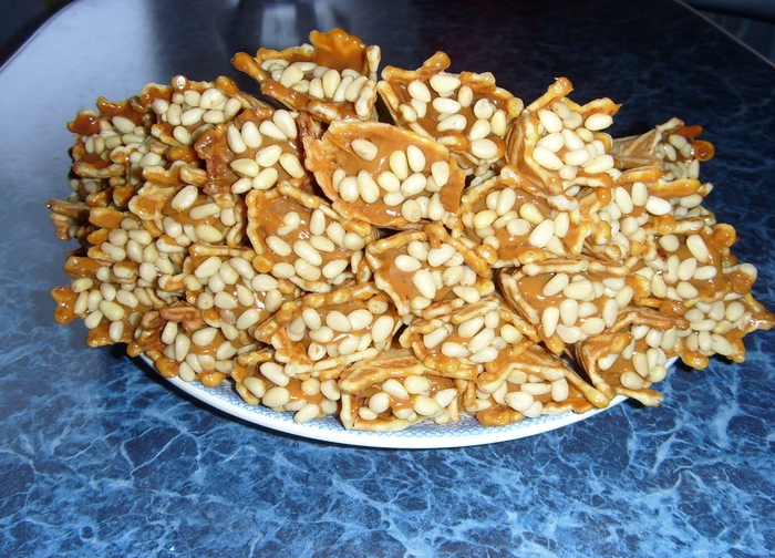 rolls with nuts and boiled condensed milk