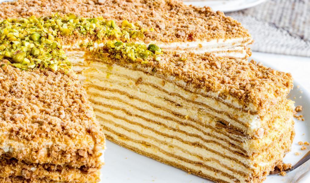 "biscuit cake ""Napoleon"" with cream"