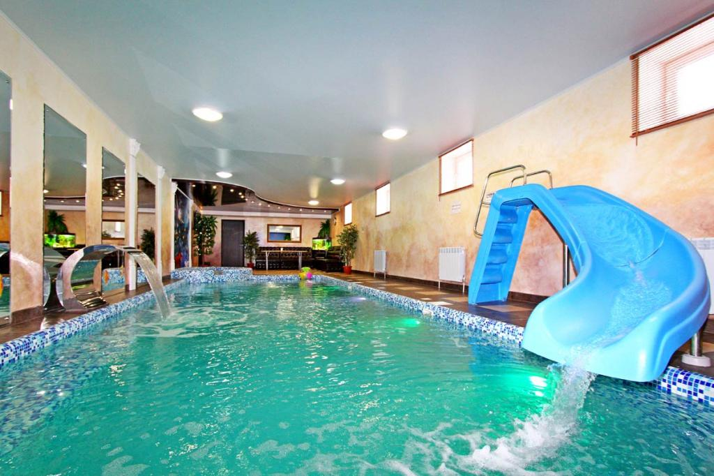pool with water slides