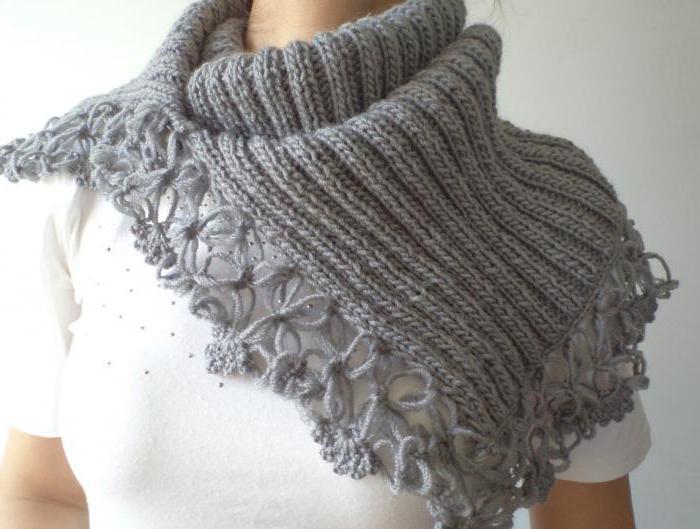 оригинальный шарф спицами французский шик