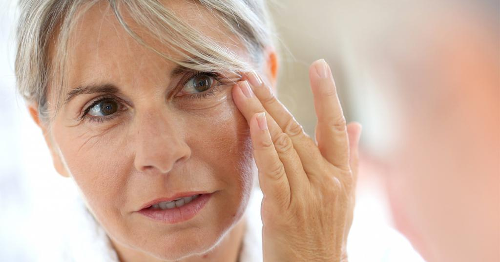 The skin around the eyes in old age