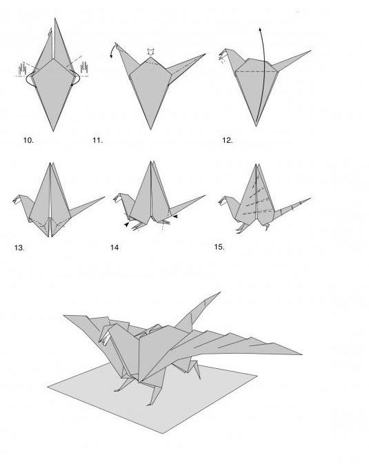 оригами дракон для начинающих схема