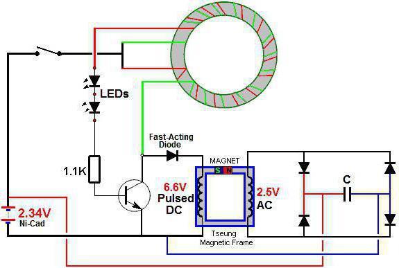 Рабочая схема генератора свободной энергии