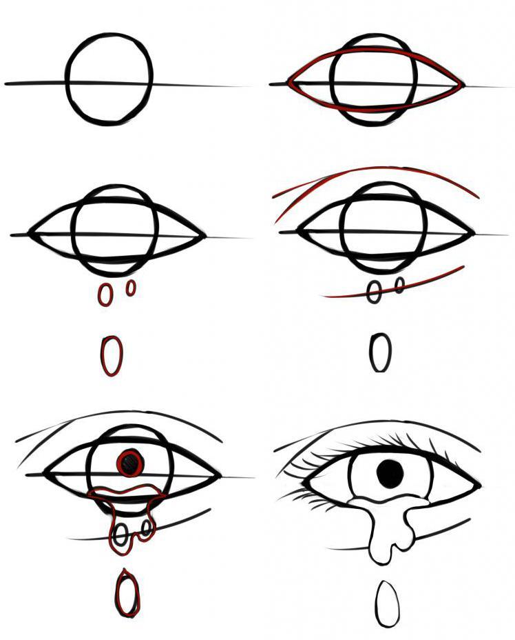 Рисунки поэтапно глаза