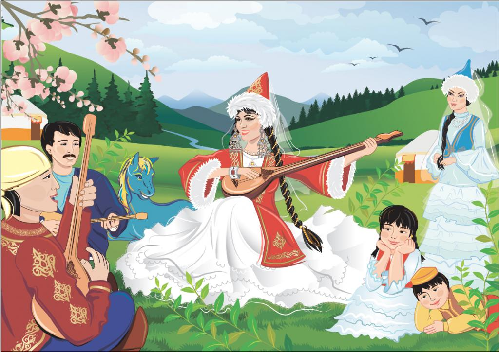 Свадебные картинки, дети казахские рисунок