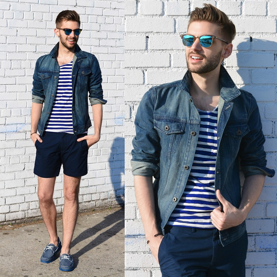 denim shirt with shorts and a vest