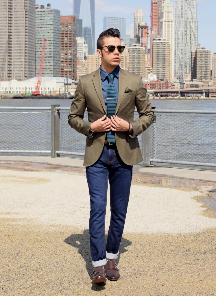 denim shirt with a jacket