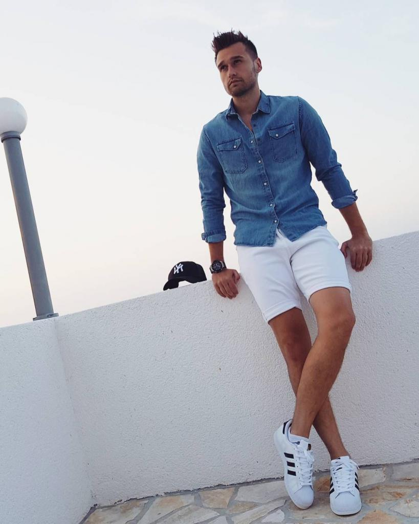 denim shirt with white shorts and sneakers