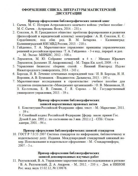 Как оформить список литературы в диссертации ГОСТ примеры и  список литературы в диссертации пример