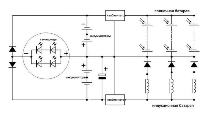схема садового светильника на солнечных батареях