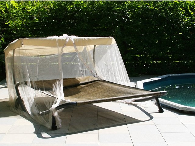 Awning on a chaise lounge