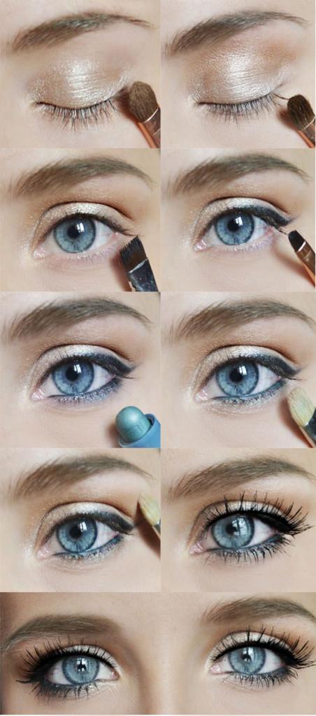 голубые глаза с макияжем