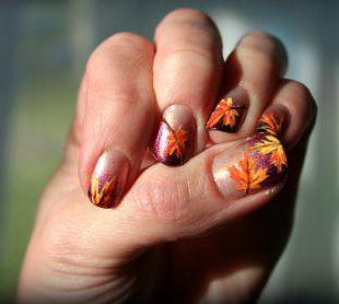 Осенние рисунки на ногтях для начинающих