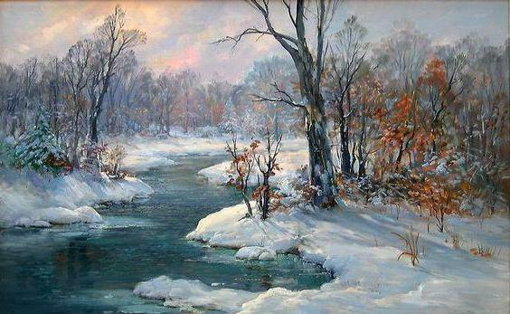 How to draw winter landscape with oil?