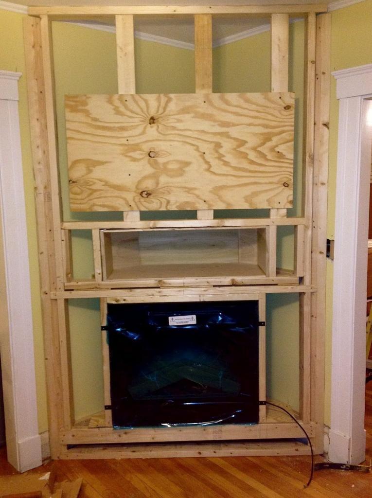 do-it-yourself corner fireplace portal
