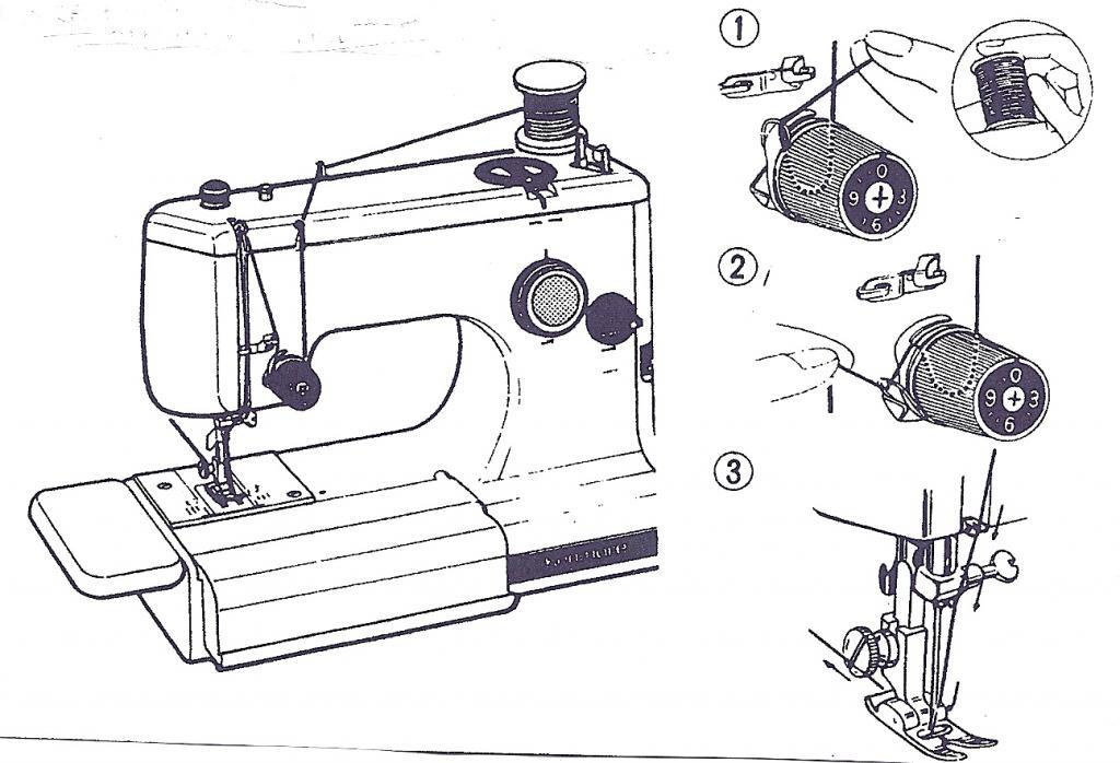 заправить нить в швейную машинку с картинками