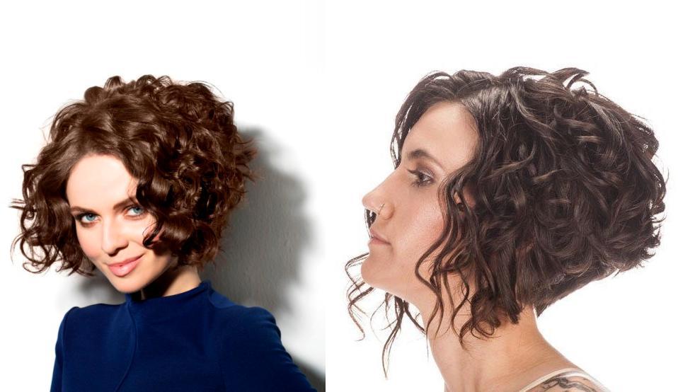 стрижка асимметричное каре кудрявые волосы