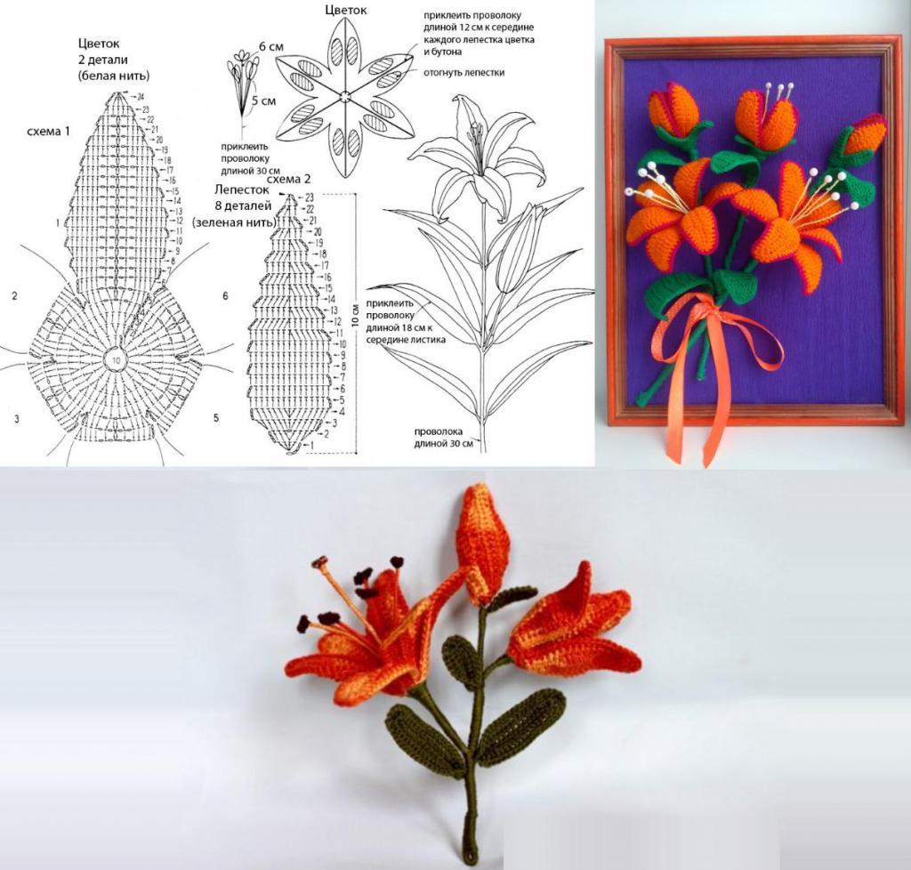 вязаные лилии крючком схемы с описанием фото орхидея значение
