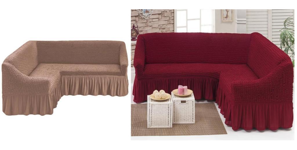 чехлы на угловой диван с оборкой