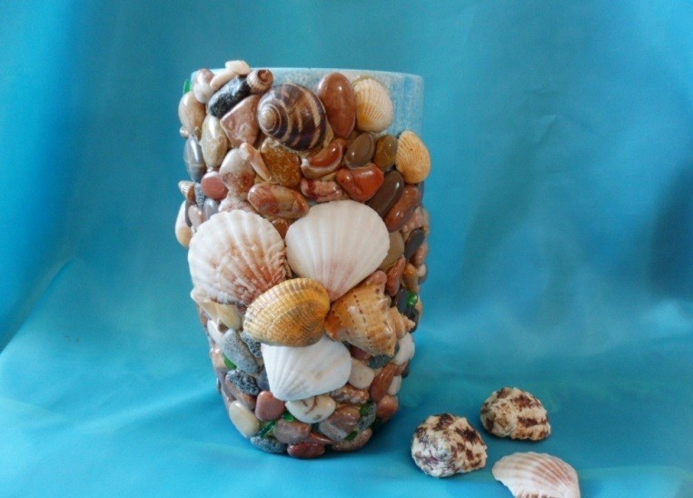 декор вазы ракушками
