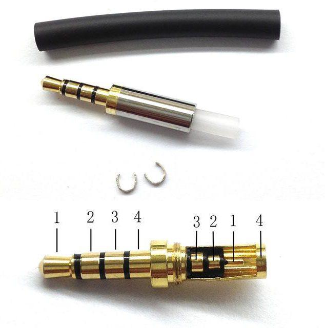 как припаять штекер к наушникам 4 провода