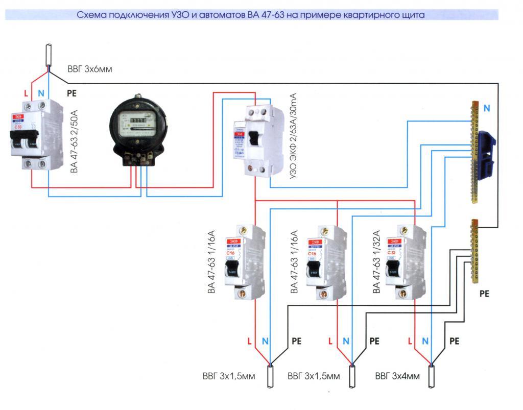 схема подключения автоматов в щитке