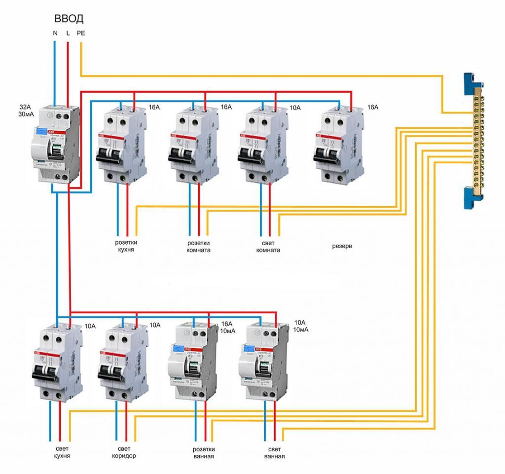 Схема подключения ряда двухполюсных автоматов