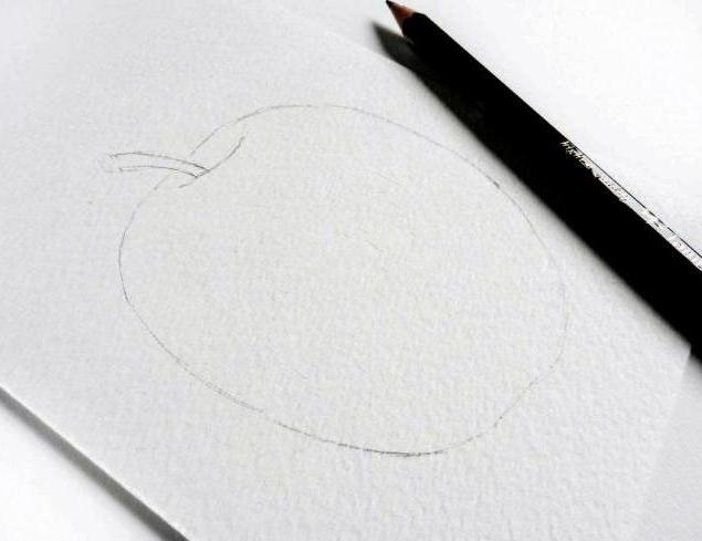 Draw an Apple with watercolor in stages