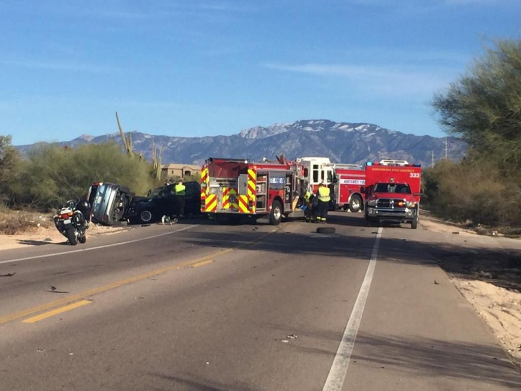 Firefighters at the scene of an accident