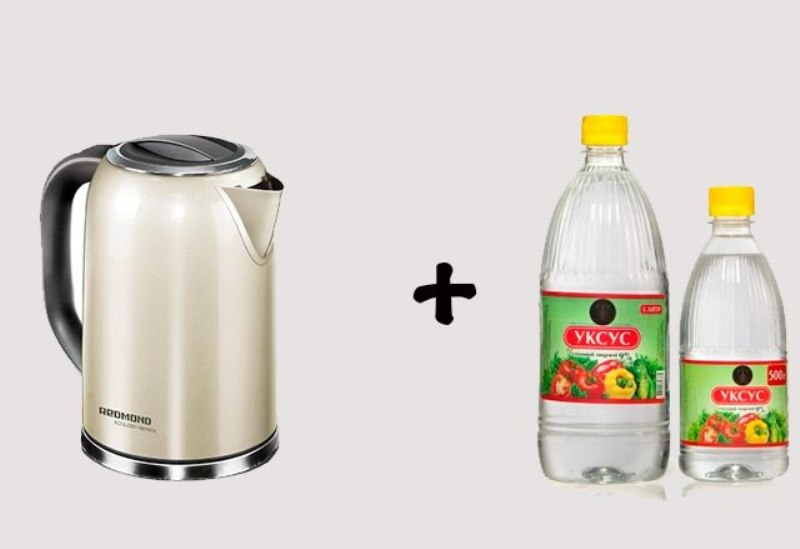 Cleaning the kettle with vinegar