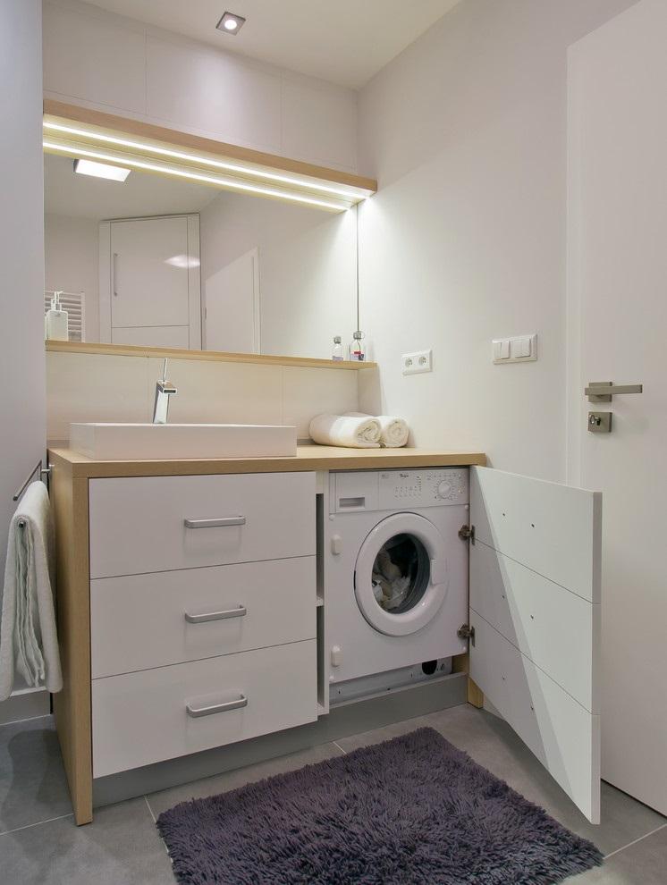 Washing machine in the bathroom