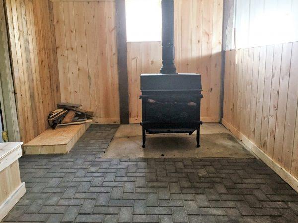 Stone floor heating in the bath