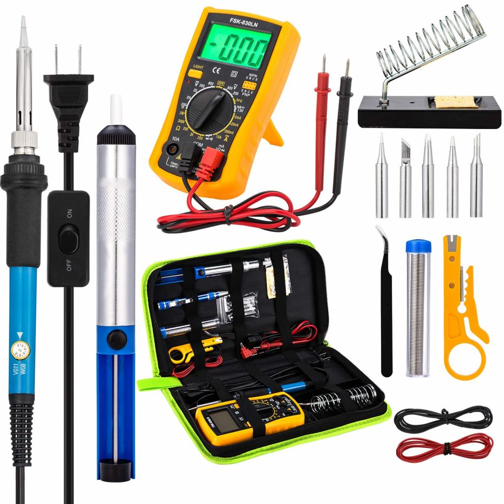 Soldering iron with interchangeable nozzles