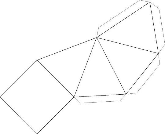 Пирамида из трех чашек и листа бумаги