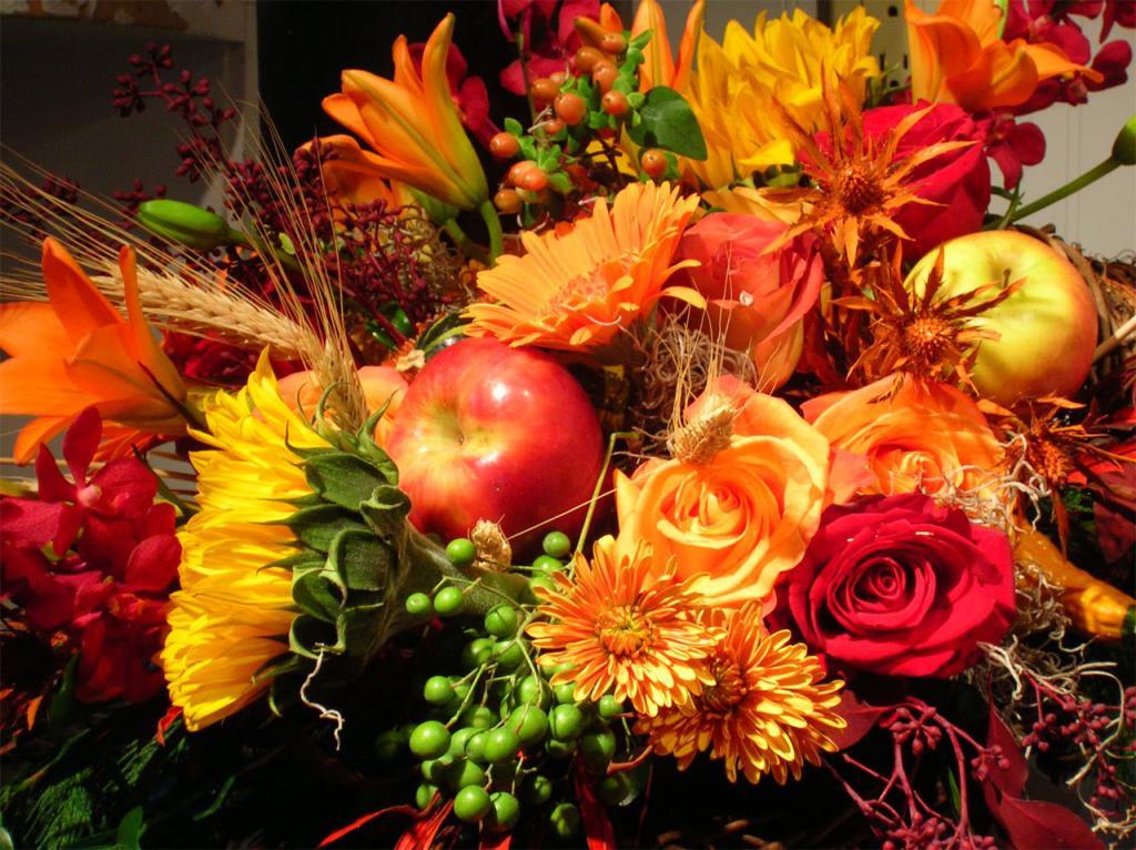 Открытка осенний букет цветов