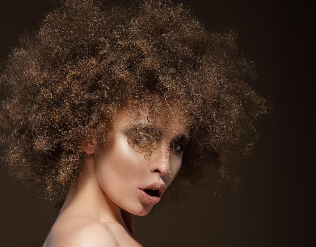 Woman with an unusual hairstyle