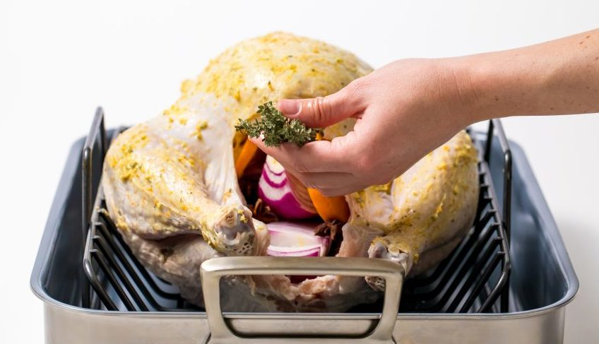 Stuff the turkey with vegetables