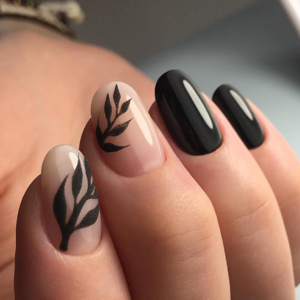 Дизайн ногтей с черным цветом и с бежевым фото