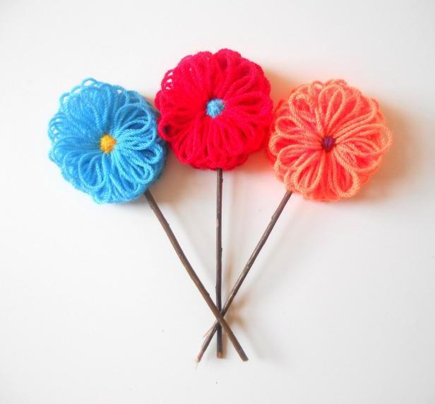 Цветы из ниток своими руками 50