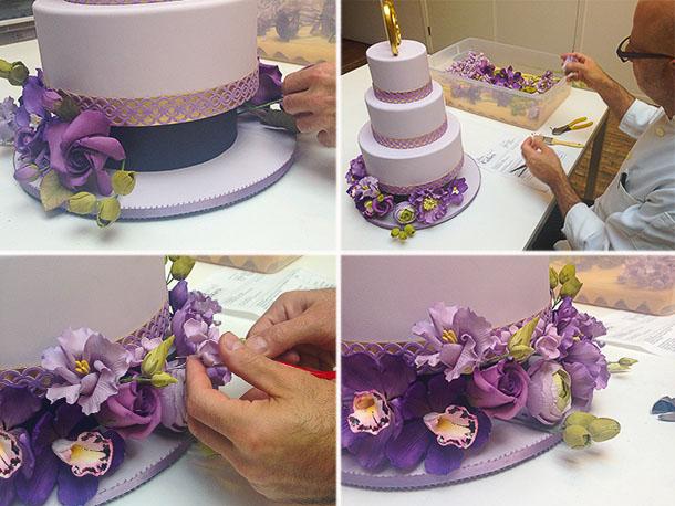 профессиональное декорироание торта живыми цветами